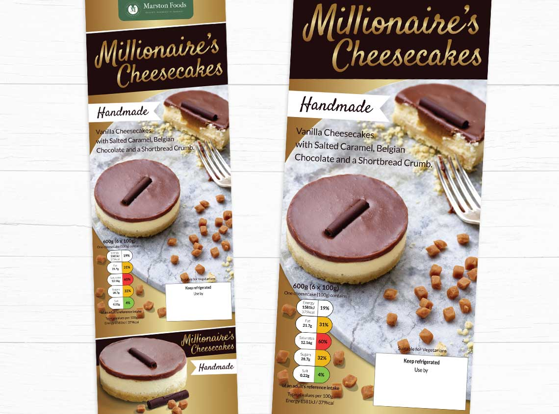Our work marston foods millionaires cheesecakes packaging design