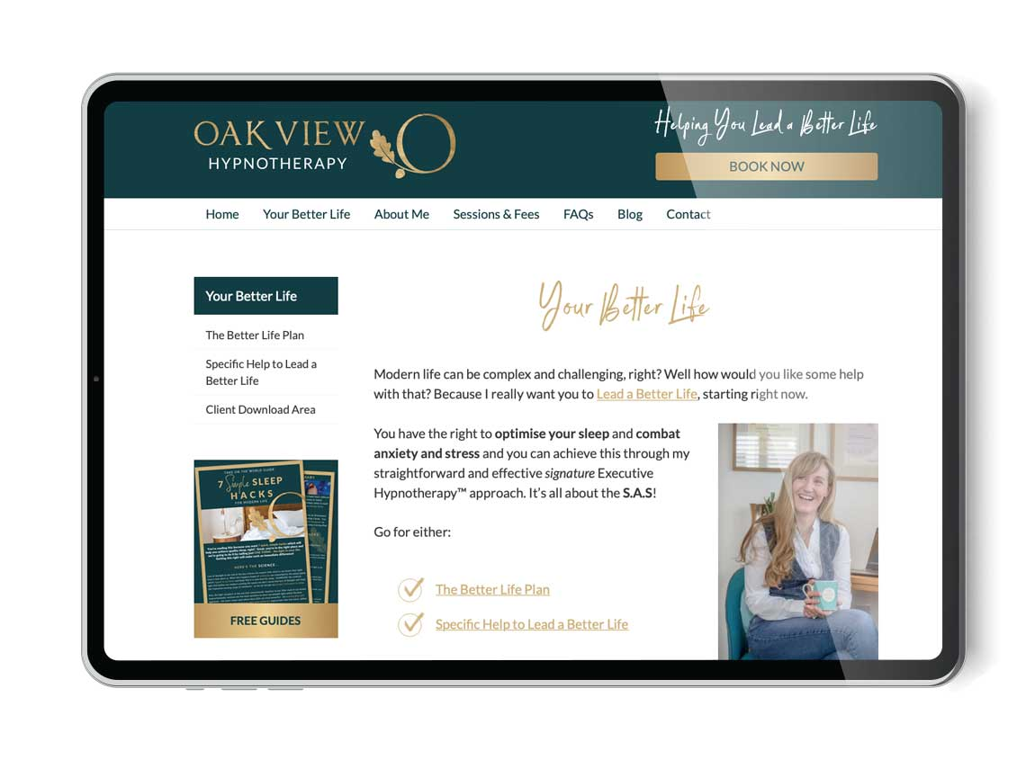Our work oak view hypnotherapy branding and website