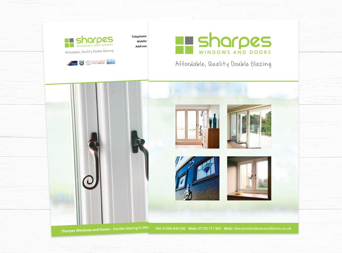 Our work sharpes windows and doors website print design