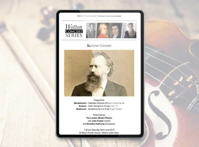 Our work wotton concert series email marketing and website